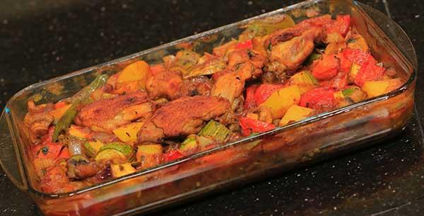 تحضير صينية دجاج بالخضار